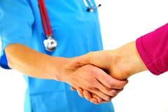 Doktoren, die Hände rütteln Stockfotos