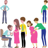 Doktoren und schwangerer Kontrollvektor Lizenzfreie Stockfotos