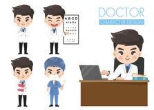 Doktorer i olika gester i likformig vektor illustrationer