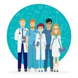 doktorer Lag av medicinska arbetare på en bakgrund Sjukhuspersonal Vektorillustration i tecknad filmstil vektor illustrationer