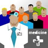 Doktorer och annan sjukhuspersonal behandla som ett barn barnet, doktorn, hälsa royaltyfri illustrationer