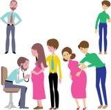 Doktorer och gravid kontrollvektor stock illustrationer