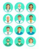 Doktorer och medicinska arbetare sänker enkla avatars royaltyfri illustrationer