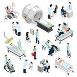 Doktorer och tålmodig i klinik royaltyfri illustrationer