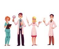 Doktorer - sjuksköterska, kirurg, allmän praktiker och tandläkare vektor illustrationer