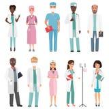 Doktorer, sjuksköterskor och medicinsk personal Begrepp för medicinskt lag i tecken för folk för tecknad filmlägenhetdesign stock illustrationer