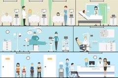 Doktorer som arbetar i sjukhuset stock illustrationer