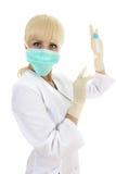 Doktorfrau in der Schablone über Weiß Stockfotos