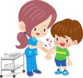 Doktorfrau, die Schutzimpfung tut vektor abbildung