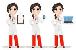 Doktorfrau mit Stethoskop set Lächelnder Doktorcharakter der netten Karikatur im medizinischen Kleid Stockbild