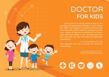 Doktorfrauen- und Kinderhintergrundplakatlandschaft Stockfoto