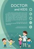 Doktorfrauen- und Kinderhintergrundplakatporträt Lizenzfreies Stockfoto