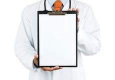 Doktorholdingklemmbrett Stockbild