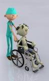 Doktorkrankenschwester, die Rollstuhl drückt Lizenzfreies Stockfoto
