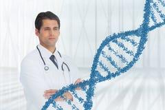 Doktormann, der mit DNA-Strang 3D steht Stockfotografie