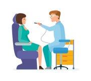 Doktorn är tandläkaren, mottar patienten i regeringsställning, med special utrustning royaltyfri illustrationer