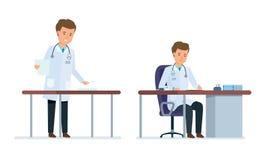 Doktorn arbetar med personliga kort av patienter och dokument stock illustrationer