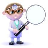 doktorn 3d ser till och med ett förstoringsglas Fotografering för Bildbyråer