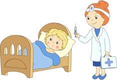Doktorn gör vaccinering till patienten Den sjuka pojken ligger i underlag royaltyfri illustrationer