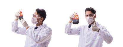 Doktorn i begrepp för bloddonation som isoleras på vit royaltyfri fotografi