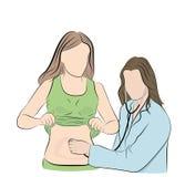 Doktorn lyssnar till patienten med en stetoskop behandling definition av diagnosen också vektor för coreldrawillustration stock illustrationer