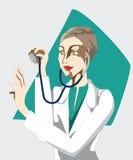 Doktorn lyssnar till phonendoscope Arkivfoto