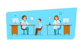 Doktorn meddelar med patienten, arbete i regeringsställning bak arbetsplats stock illustrationer