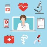 Doktorn råder en patient på en minnestavladator Telemedicine och plan begreppsillustration för telehealth Tele och avlägsen medic royaltyfri illustrationer