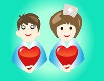 Doktorn rymmer hjärta Fotografering för Bildbyråer