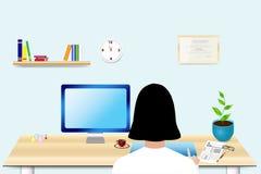 Doktorn sitter i hennes kontor Inom arkiv kan du finna mappar i sådana format: eps ai, cdr, jpg Stock Illustrationer
