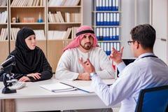 Doktorn som konsulterar den arabiska familjen på sjukhuset royaltyfri foto