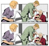 Doktorn undersöker den äldre mannen Arkivfoto