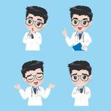 Doktorn visar en variation av gester och handlingar i arbetskl?der stock illustrationer