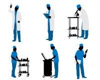 Doktorschattenbilder auf Weiß lizenzfreie abbildung