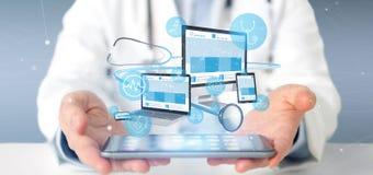Doktorscy mienie przyrząda z medycznym ikony i stetoskopu 3d renderingiem obrazy royalty free