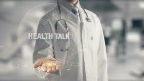 Doktorsinnehav i vård- samtal för hand stock illustrationer