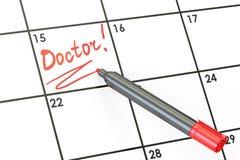 Doktorska data na kalendarzowym pojęciu, 3D Zdjęcie Royalty Free