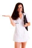 Doktorska kobieta odizolowywająca na białego tła medycznym personelu Zdjęcia Royalty Free
