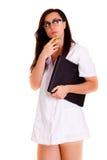 Doktorska kobieta odizolowywająca na białego tła medycznym personelu Obraz Royalty Free