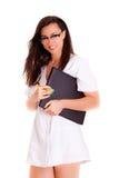 Doktorska kobieta odizolowywająca na białym tło medycznego personelu personelu Zdjęcie Stock