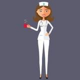 Doktorska kobieta z filiżanką herbaty i teapot kreskówki płaska ilustracja Zdjęcie Royalty Free
