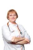 Doktorska kobieta z stetoskopem Odizolowywający na bielu Fotografia Royalty Free