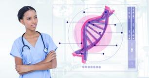 Doktorska kobiety pozycja z DNA interfejsem Fotografia Royalty Free