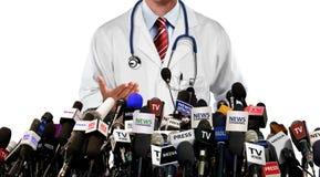 Doktorska konferencja prasowa z środkami Zdjęcia Royalty Free