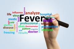 Doktorska pisze febra na szkło desce zdjęcia stock