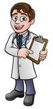 Doktorska postać z kreskówki mienia klamerki deska royalty ilustracja