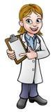Doktorska postać z kreskówki mienia klamerki deska Zdjęcie Stock