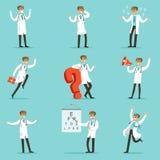Doktorska praca procesu kolekcja szpital Powiązane sceny Z Młodym Medycznego pracownika postać z kreskówki royalty ilustracja