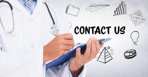 Doktorska w połowie sekcja z schowkiem przeciw kontaktu bielu i doodles ścianie ilustracja wektor