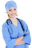 doktorski żeński szczęśliwy ja target1184_0_ portreta zdjęcie stock